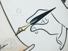 Penna in ferro battuto con manico brunito lucido