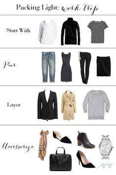 Complete Business Trip Packing List After my work trip to Seattle a few weeks ago, I was inspired do a post on packing light.After my work trip to Seattle a few weeks ago, I was inspired do a post on packing light. Business Travel Outfits, Business Trip Packing, Business Fashion, Business Wear, Packing Tips, Travel Packing Outfits, Weekend Packing, Travel Wardrobe, Work Wardrobe