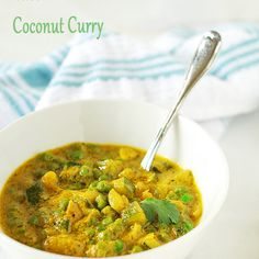 Zucchini and Green Peas Coconut Curry