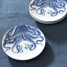 Found it at Wayfair - Wellfleet Canape Plates, Octopus Blue And White Dinnerware, Melamine Dinnerware, New England Homes, Traditional Furniture, Joss And Main, Plate Sets, Coastal Decor, Coastal Style, Furniture Making