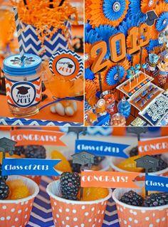 依照每間學校的顏色搭配出來的專屬派對。橘色與藍色的範例。