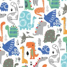 Dashwood Studio Playtime Dinosaurs on White - Cotton - Wide - Arriving in THIS WEEK! We absolutely love Dashwood Studio fabrics here at Prints to Polka Dots - pop over today and see our range of individual prints and pre-cut fabric bu Dinosaur Fabric, Dinosaur Pattern, Kids Patterns, Print Patterns, Cool Dinosaurs, Dinosaur Illustration, Kids Graphics, Design Textile, Baby Clip Art