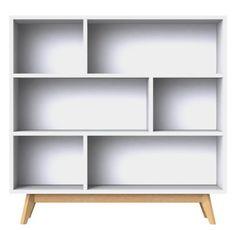 Tenzo 2170-001 Bess - Designer Regal, weiß, lackiert, matt, Untergestell Eiche massiv, 135 x 140 x 43 cm (HxBxT)