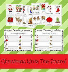 Preschool and Kindergarten Christmas Write The Room Printable Activity