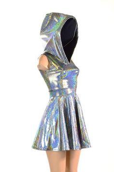 Sleeveless Silver Holographic Hoodie Skater Dress w/Black Zen Hood Liner Lycra Spandex Clubwear Festival Rave 150778 – Fashion High Waist Shorts Women Teen Fashion Outfits, Rave Outfits, Girl Outfits, Fashion Dresses, Holographic Dress, Holographic Fashion, Galaxy Outfit, Mode Kawaii, Sleeveless Hoodie