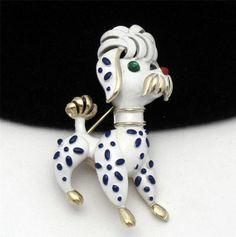 CROWN TRIFARI Brooch Pin Vintage Jewelry 1967 Pet Series Figural Dog Brooch Pin