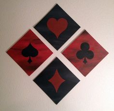 Card suits - Heart, Spade, Diamond, Club, Alice in Wonderland, acrylic on canvas board