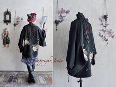 Haori, Black Haori, black silk jacket, wearable art, Beaded Jacket, embroidered jacket, Kimono jacket, unique jacket, peony haori by Jevda on Etsy