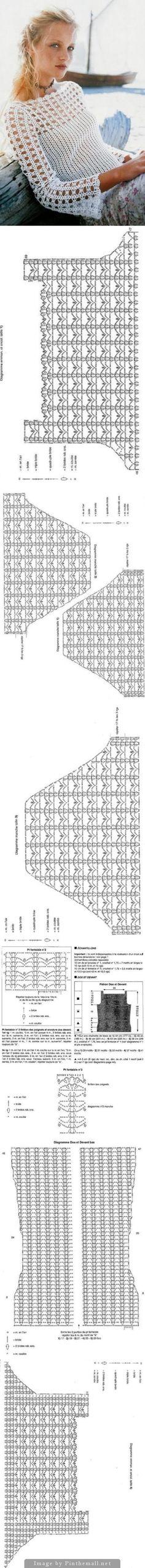 Blusa de crochê com gráfico