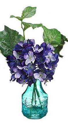 Purple Hydrangea in Blue Glass Vase