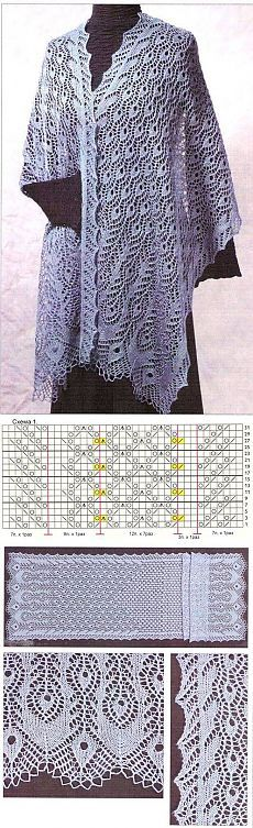 New Knitting Shawl And Wraps Tricot Ideas Shawl Patterns, Crochet Stitches Patterns, Lace Patterns, Knitted Shawls, Crochet Shawl, Knit Crochet, Knitting Charts, Knitting Stitches, Tricot D'art