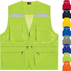 Hi Vis Visibility Multi Pockets Safety Mesh Vests Reflective Waistcoats Uniform Shirts, Work Uniforms, Pittsburgh Steelers, Navy Vest, Utility Vest, Plus And Minus, Duster Jacket, Work Wear, Menswear