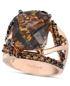 Le Vian 14k Rose Gold Ring, Smokey Quartz Gladiator Ring (8-1/4 ct. t.w.) - Rings - Jewelry & Watches - Macy's