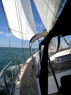 under sail - deck view forward ( #Passport Yachts, #Annapolis MD, #cruising sailboat, #Corpus Christi TX )