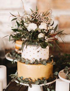 Woodland polka dot wedding cake