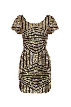 Gold Geometric Sequin Short Sleeve Open Back Dress