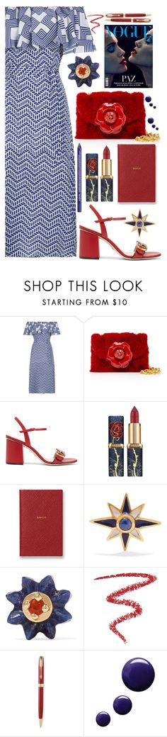 """""""Hello Spring"""" by sunnydays4everkh ❤ liked on Polyvore featuring Oscar de la Renta, Gucci, Smythson, Diego Percossi Papi, Alice Cicolini, By Terry, Parker, Topshop and NYX"""