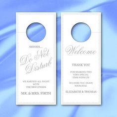 Do Not Disturb Wedding Door Hangers  Weddings Wedding And