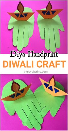 Celebrate the festival of light by making this simple Diwali handprint craft with kids. #thejoysharing #diwalicrafts #diwali via @thejoysharing