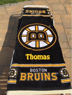 HOCKEY NHL Boston Bruins Beach Towel Personalized by CACBaskets on Etsy Nhl Boston Bruins, Oversized Beach Towels, Sewing Studio, Cotton Towels, Hockey, Beach Pool, Rich Colors, United States, Spirit