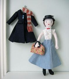 Mary Poppins doll. Would love to be able to make a simple doll with tons of adorable outfits and accessories! | by needle book
