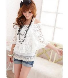Morden Style Scoop Neck Batwing Sleeve With Tank Top Lace Women's Twinset BlouseBlouses | RoseGal.com