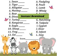 Name The Baby Jungle Safari Baby Animal Shower Game   Zoo Animal Theme, Baby  Shower Baby Animal Game, Guess The Baby Animal Game, Printable