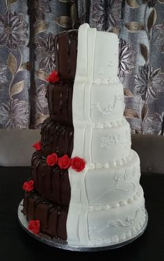 Half & Half Lace & Chocloate Wedding Cake- Side  View Wedding Favours, Wedding Reception, Wedding Cakes, Chocolate Stout, Fondant Icing, Artisan Bread, Marzipan, Confectionery, Celebration Cakes
