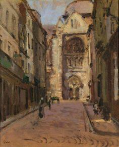 Walter Sickert (British, 1860-1942),La Rue Pecquet, Dieppe. Oil on canvas, 46 x 37.5 cm.