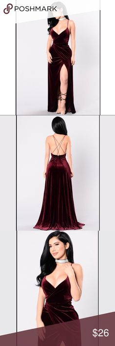 Wishful Thinking Maxi backless Fashion Nova Dress This is a beautiful dress but i'm 5'0 and i'm petite so it was too long for my torso but it would look beautiful on anyone else I bought this from fashion nova and can't get my money back because they only give store credit and i'd prefer money not credit.  ALSO SELLING ON POSH - @mollyrileyd ( V Neckline Criss Cross Back  Thigh High Slit Maxi Length Velvet 90% Polyester 10% Spandex ) Fashion Nova Dresses Maxi