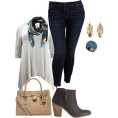 A fashion look from January 2015 featuring women plus tops, super skinny jeans and black high heel boots. Browse and shop related looks.