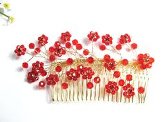 Handmade Floral red golden comb wedding tiara bridal veil party occassion hair jewelry 40171rg. $33.00, via Etsy.