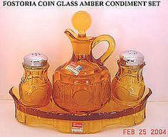 FOSTORIA Coin Glass Amber Condiment Set