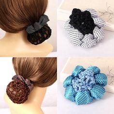 2016 Girl Women Dot Shiny Bun Cover Snood Hair Net Nets Ballet Crochet Hair Band #Affiliate
