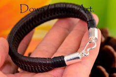 2B-886 Finely Made Sterling Silver Kangaroo Leather New Wristband Men Bracelet