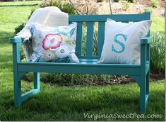colourful outdoor bench makeover DIY