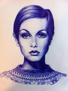 Twiggy Portrait - Original pen and ink drawing, fashion, model, ballpoint, blue on Etsy, $93.51