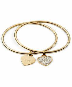 Michael Kors Gold-Tone Heart Charm Bangle Bracelets - Fashion Jewelry - Jewelry & Watches - Macy's