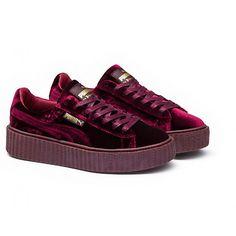 Mens/Womens Fenty Puma By Rihanna Velvet Creepers Shoes Burgundy 364639-02