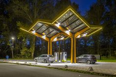 Electric Station, Electric Cars, Electric Vehicle, Bus Stop Design, Car Charging Stations, Car Station, Filling Station, Innovation Design, Canopy