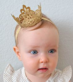The Regal Lace Princess Crown Baby Crown by PrideandPrincesses