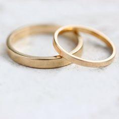 14k Yellow Gold Wedding Band Set Gold Wedding Ring by moiraklime, $685.00