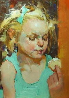 """Cupcake"" Kim Roberti's 5x7 Contemporary Realism Figures/Portraits of a young girl. -- Kim Roberti"