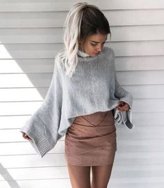 Sweater and skirts are perfect for winter date night outfits!