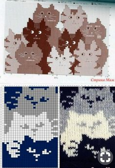 Fair Isle Knitting Patterns, Knitting Charts, Mittens Pattern, Cat Pattern, Cat Cross Stitches, Cross Stitch Patterns, Crochet Crafts, Crochet Projects, Knitted Cat