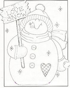 I love snow stitchery Christmas Colors, Christmas Snowman, Christmas Crafts, Christmas Embroidery, Hand Embroidery, Embroidery Designs, Theme Noel, Christmas Coloring Pages, Snowman Crafts