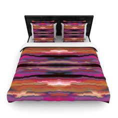 "Nina May ""Sola Color"" Pink Orange Woven Duvet Cover"