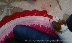 crocheted rug, and tired little assistant Tired, Rugs, Crochet, Farmhouse Rugs, Chrochet, Crocheting, Knits, Floor Rugs, Rug