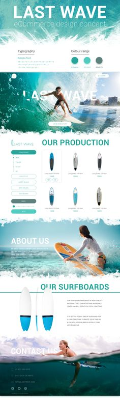 This concept displays design of the eCommerce for selling surfboards.