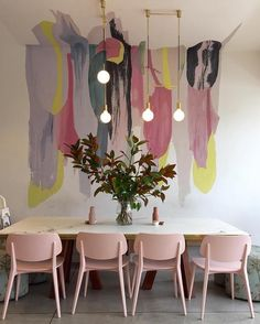 Get inspired by these dining room decor ideas! From dining room furniture ideas, dining room lighting inspirations and the best dining room decor inspirations, you'll find everything here! Room Inspiration, Interior Inspiration, Inspiration Design, Interior Ideas, Lights Over Dining Table, Deco Pastel, Pastel Pink, Blush Pink, Pastel Decor